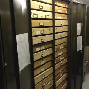 One of the double cabinets filled with insect drawers (manufactured by prisoners in the Virginia prison system).